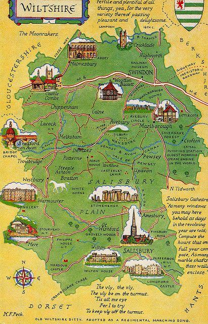 Wiltshire postcard map.