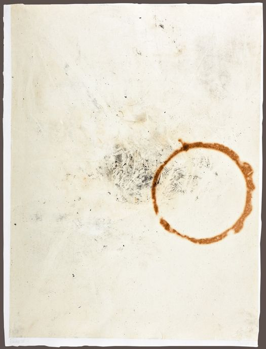 John Cage, Eninka 22, 1986, burned, smoked and branded Japanese Gampi paper mounted on paper (unique impression), 64.14 x 47.94 cm, Collection of Ryo Toyonaga and Alvin Friedman-Kien.