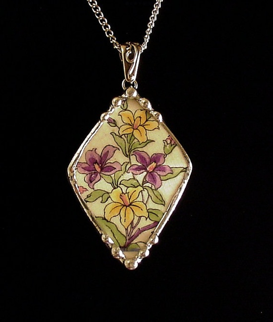 Necklace made from an antique china plate by Dishfunctional Designs
