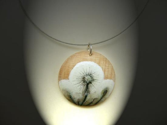 "Handpainted Wooden Pendant, Art Necklace, Flower Painting, Miniature Wood Art, Handmade Jewelry ""Blowballs"", $22.00 USD"