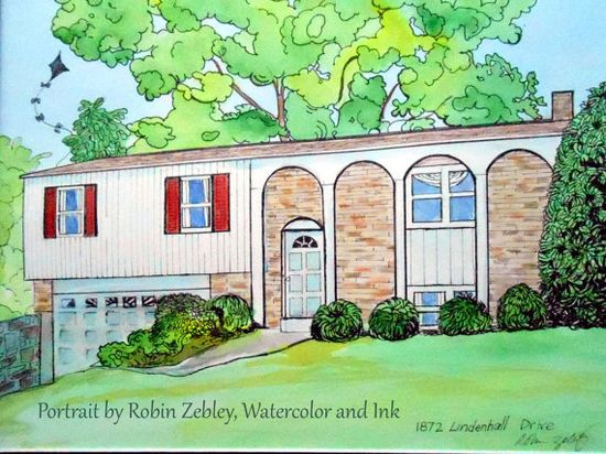Custom House portrait painting Watercolor & by Robin Zebley