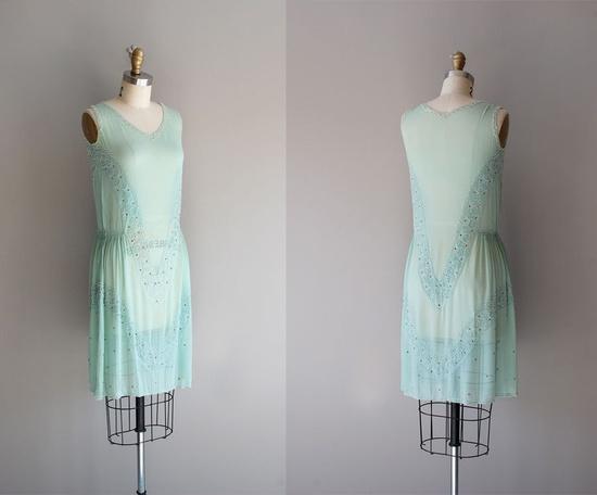 1920s dress / silk beaded 20s dress / Creme de Menthe. $425.00, via Etsy.