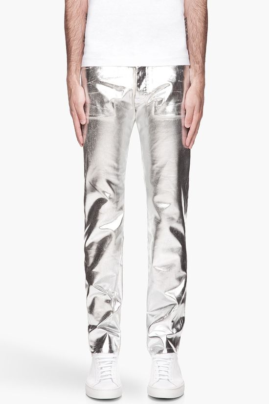 Maison Martin Margiela Metallic Silver Painted Jeans -  Maison Martin Margiela Metallic Silver Painted Jeans Maison Martin Margiela Slim_fit jeans in off_white. Irregular. textured paint effect in metallic silver throughout surface. Five_pocket styling. Tonal stitching. Button fly. Price $745.00 Click HERE for more Information
