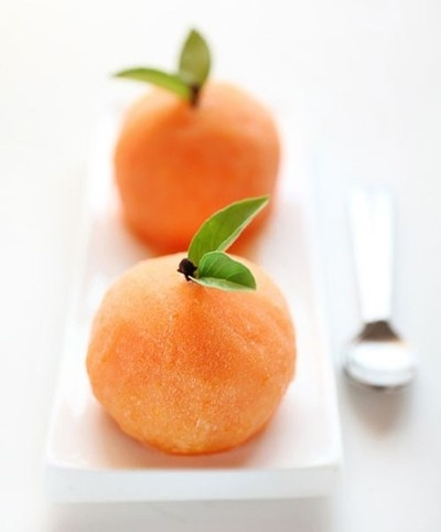 Orange sorbet served as oranges