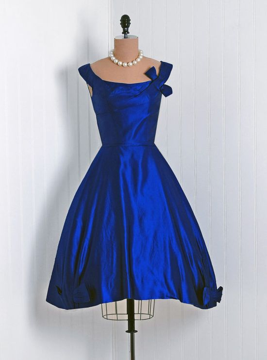 Reserved for Harlow 1950's Vintage Ceil Chapman Designer-Couture Sapphire Blue-Purple Silk-Satin Asymmetric Draped-Bow Full Party Dress