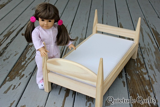 American Girl Doll Bed INCLUDES Mattress and Fitted Sheet - 18 inch doll furniture for American Girl, Bitty Baby. $45.00, via Etsy.