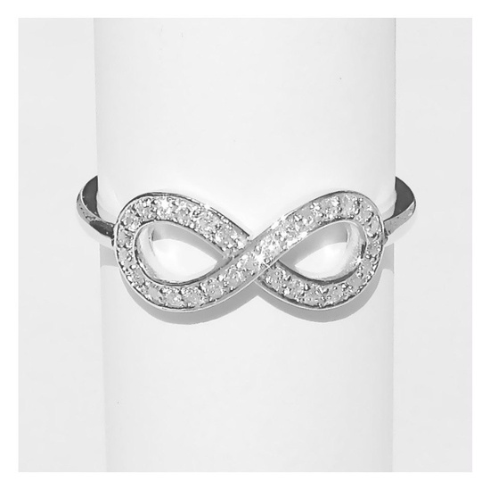 Small 14k White Gold Diamond Infinity Ring