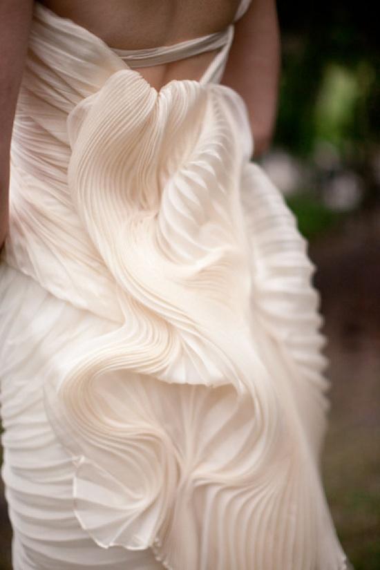vera wang gown w/cascading pleats