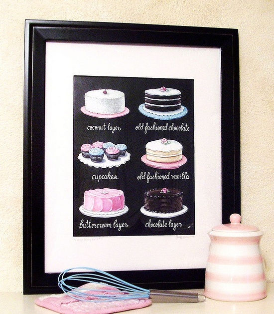 $32.00  Vintage Inspired menu board cake cupcakes print  www.everyday-is-a...