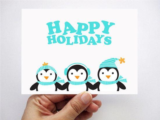 adorable #Christmas Card , #Penguin Christmas Card Set $12