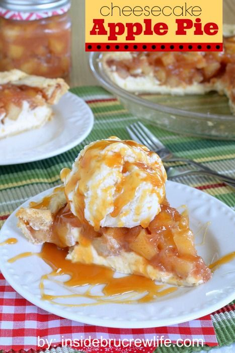 Cheesecake Apple Pie - cheesecake topped with a homemade apple pie