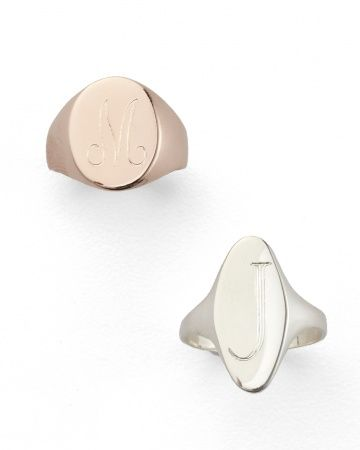 Sarah Chloe signet rings, available in a variety of fonts and metals