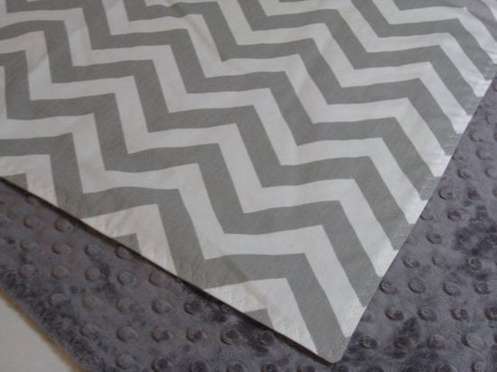 Gray and White Chevron Baby Blanket --- You pick Minky Color on Etsy, $32.00