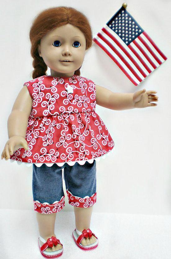 American Girl Doll Americana Capri Set  18 inch by dollupmydoll, $18.00