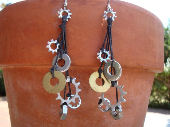 Hardware Earrings  Hardware Washer Jewelry by simplepleasurestx, $10.00/ maybe not earrings, but would look cute mixed in with some stones and some gems on a bracelet.