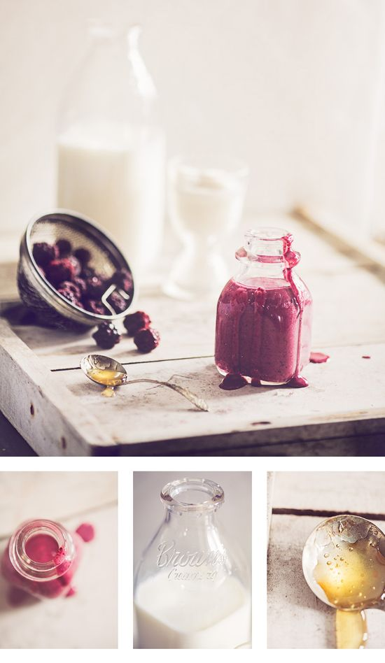 The perfect afternoon pick-me-up or healthier alternative to dessert: creamy berry smoothie! #food #smoothie #photography