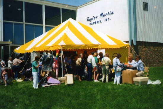 The first Vera Bradley tent sale, which has evolved into the annual Vera Bradley Outlet Sale.