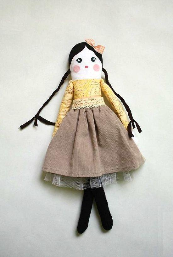 Handmade Rag doll,  Cloth  Doll, Vintage style art doll , soft doll ballerina yellow mustard black. $36,00, via Etsy.