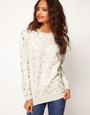 ASOS sweatshirt in foil spot