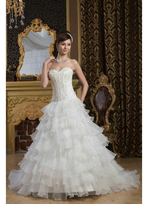 A Line Layers Beading Organza White Wedding Dresses 2013