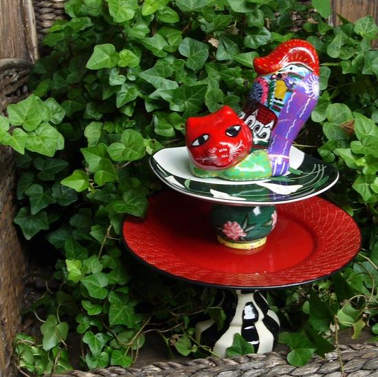 SALE - GARDEN TOTEM, Cat Garden sculpture, Bird feeder, Vintage Pedestal, Garden Art, Red Outdoor Art. $22.99, via Etsy.