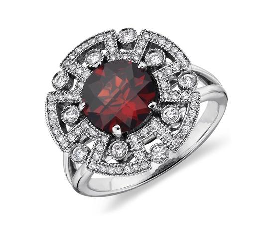 Garnet and Diamond Ring in 14k White Gold #BlueNile