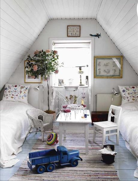 "vintage cottage attic bedroom...I have SO been thinking about this.  I have so many projects on my mind.  I want a front porch, and I want to ""build up"" and use my attic space.  This has so got me thinking!"