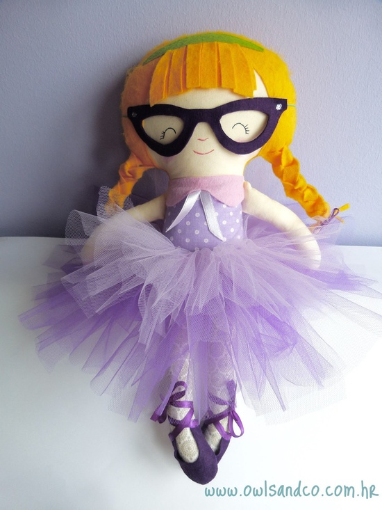 Do you have a little ballerina in glasses? -- Handmade fabric doll, Little Miss G.