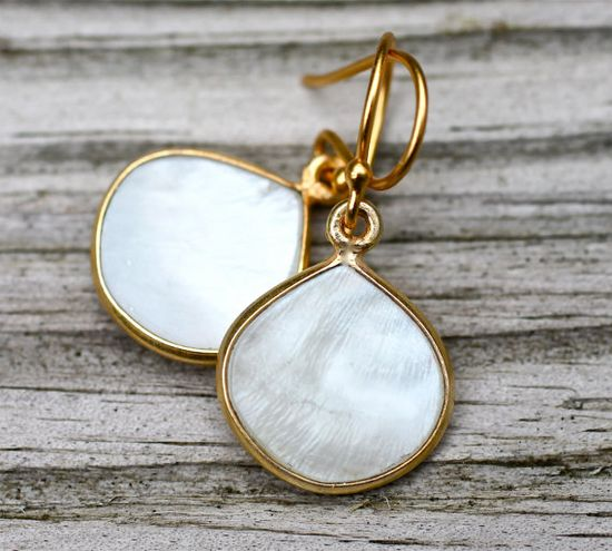 White Mother of Pearl Earrings Classic Teardrop by amyfine on Etsy