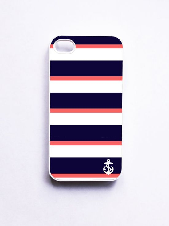 Nautical iPhone Case for Iphone 4 / 4S  Navy & by onyourcasestore, $16.99