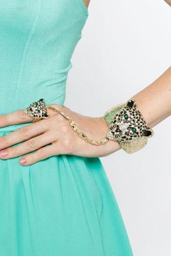 Embellished Leopard Hinge Bracelet