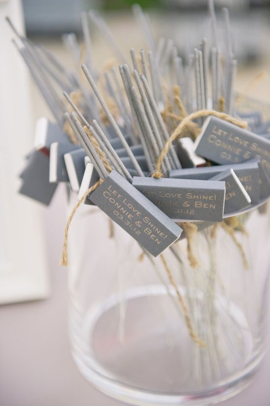 Sparklers & matchbooks - Always wanted to do this at my wedding instead of bubbles... LOVE ME SOME FIREWORKS :)