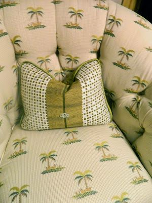 tufted palm tree chair from Brunschwig & Fils Japanese pillow and trim Tamara Stephenson Interior Design