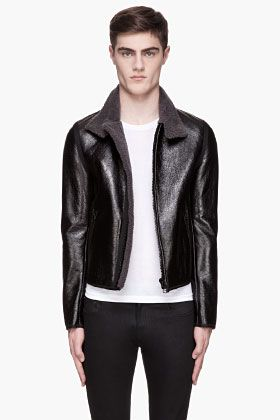 Lanvin Black Patent Leather Shearling Jacket for men