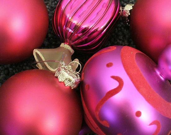 Pink Christmas ornaments.