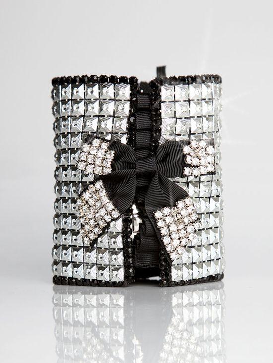 Silver & Black Rhinestone Party Pocket Bracelet  Ice by CuffNGo, $220.00