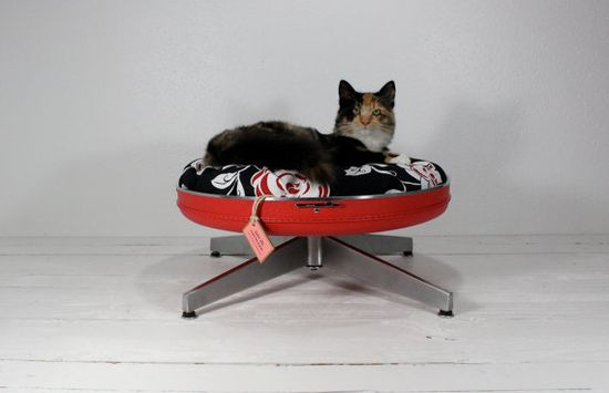 Upcycled suitcase cat bed. $109