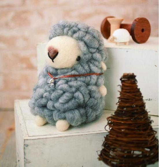 DIY Handmade Large Felt Wool Sheep Kit: Made of high quality Japanese felt wool.