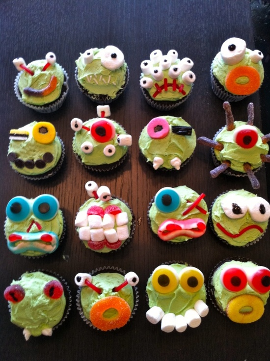 Make your own Halloween Monster Cupcakes. Blank cupcakes with topping bar