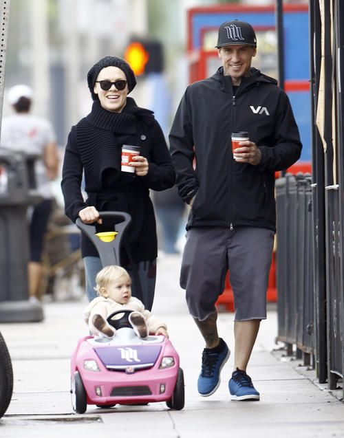 Pink & Carey Hart Take Willow For A Stroll