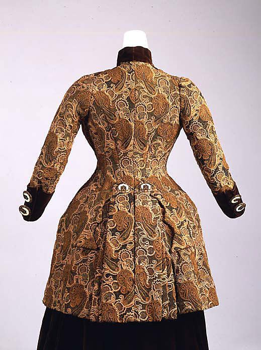 Josephine Egan silk and metal thread dress (back) 1880