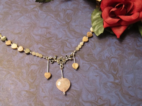 Ocean Jasper Hearts Necklace with Pink by RomanticThoughts on Etsy, $32.00, #RomanticThoughts.etsy.com, #jewelry