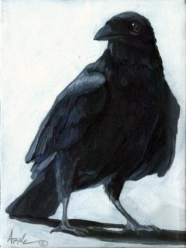"""""""The Raven - animal art oil painting"""" - Original Fine Art for Sale - © Linda Apple"""