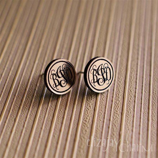 vine monogram itty bitty post earrings. $12.00, via etsy.