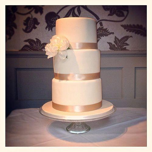 Fresh Peony Wedding Cake