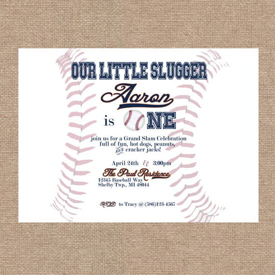 Baseball Themed Birthday / First Birthday Personalized Party Invitation