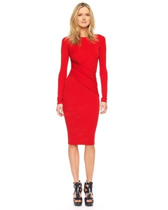 Long Sleeve Wrap Dress on Styles   I Enjoy   Michael Kors Long Sleeve Faux Wrap Dress  Crimson