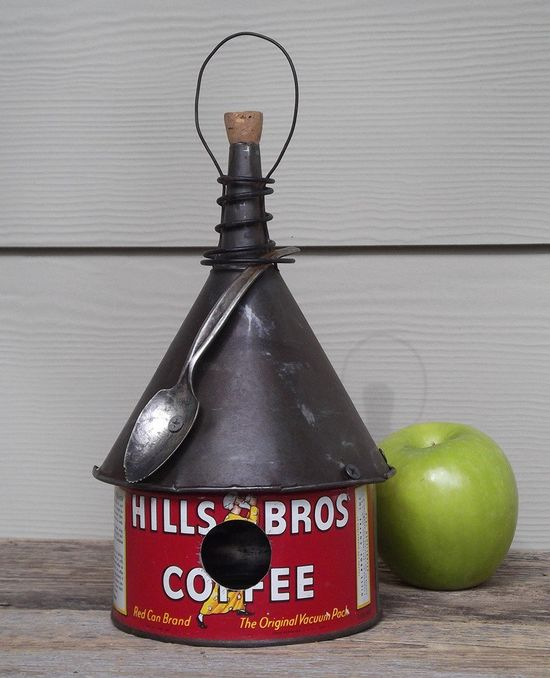 Coffee can birdhouse, whimsical birdhouse,  funnel roof, red, vintage, recycled. $29.00, via Etsy.