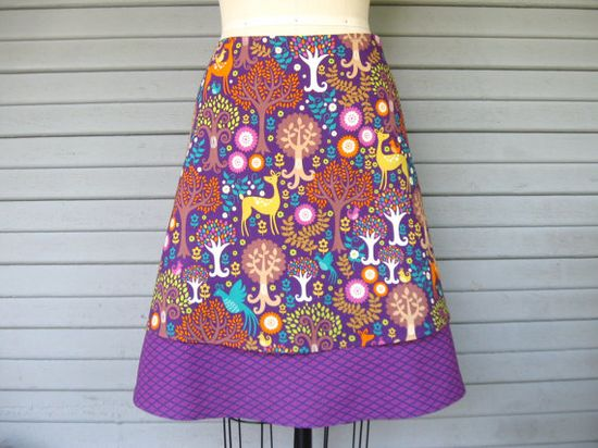 Fantastical Forest aline skirt Sz 14 by LoveToLoveYou on Etsy, $65.00