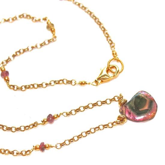 Watermelon Tourmaline Slice Necklace Gold Vermeil by FizzCandy, $95.00 #watermelon, #tourmaline, #necklace, #jewelry, #peacock, #bullseye, #gemstone, #fizzcandy